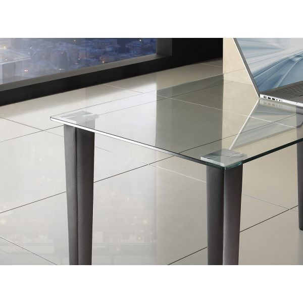 Scrivania tavolo LUDOVIC in vetro metallo e gambe in pelle 130 x ...