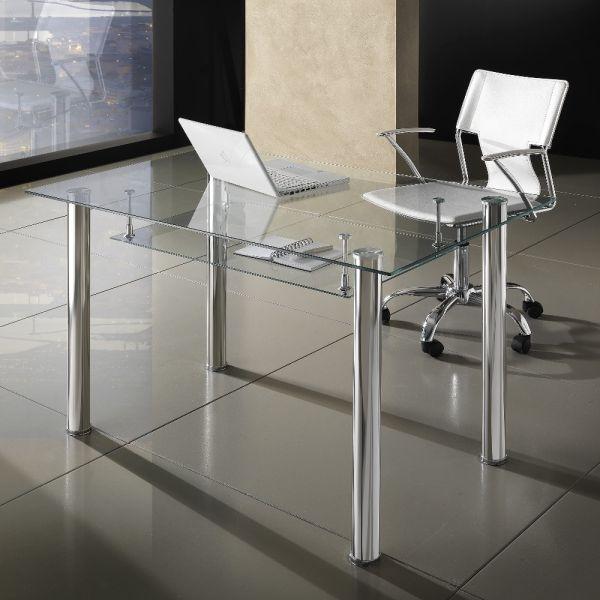 Scrivania moderna per ufficio in vetro e metallo 120 x 70 cm Roland