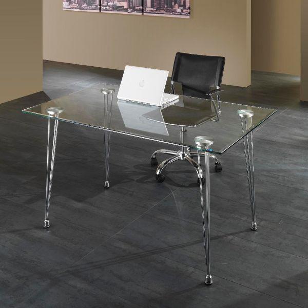 Scrivania da ufficio Kaleva design in metallo e vetro 130 x 80 cm