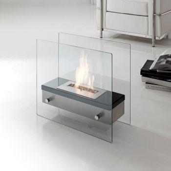 Caminetto a bioetanolo Farrell da terra in metallo e vetro