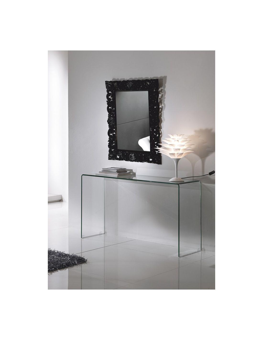 Consolle da ingresso scarlett in vetro curvato trasparente for Consolle di design