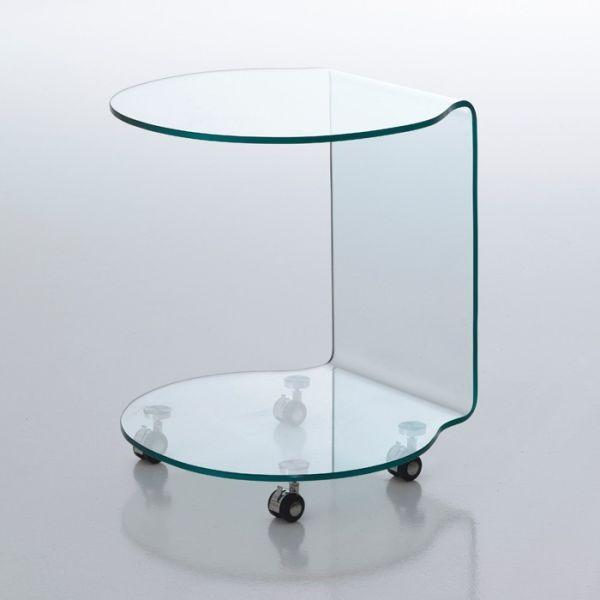 Tavolino Bendigo lato divano in vetro curvato su ruote