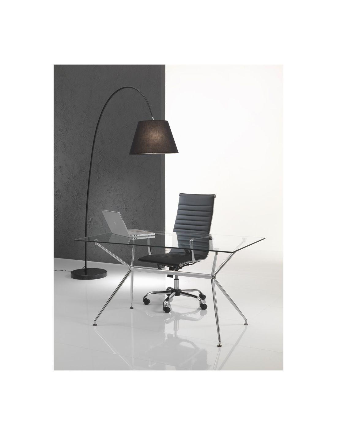 Scrivania da ufficio sheridan in vetro e metallo cromato for Design ufficio scrivania