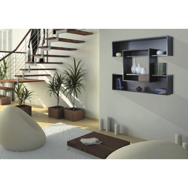 Libreria scaffale da parete giri in legno nobilitato per for Mensole moderne camera da letto