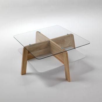 Tavolino da salotto Winnipeg design scandinavo in legno e vetro