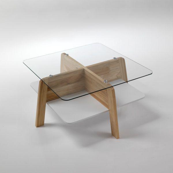 Tavolino da salotto design moderno in legno e vetro Winnipeg