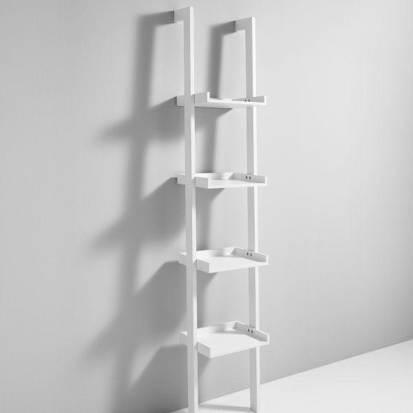 Libreria verticale a parete con 4 ripiani in legno MDF bianco Bergen