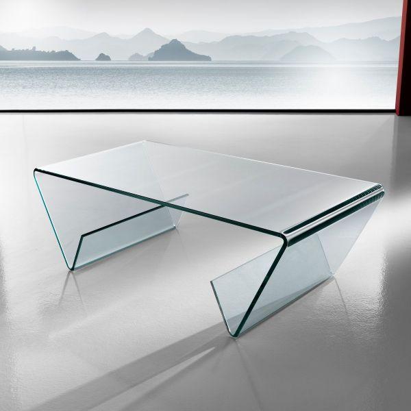 Tavolino da salotto in vetro curvato con portariviste 110 x 55 cm Gabry