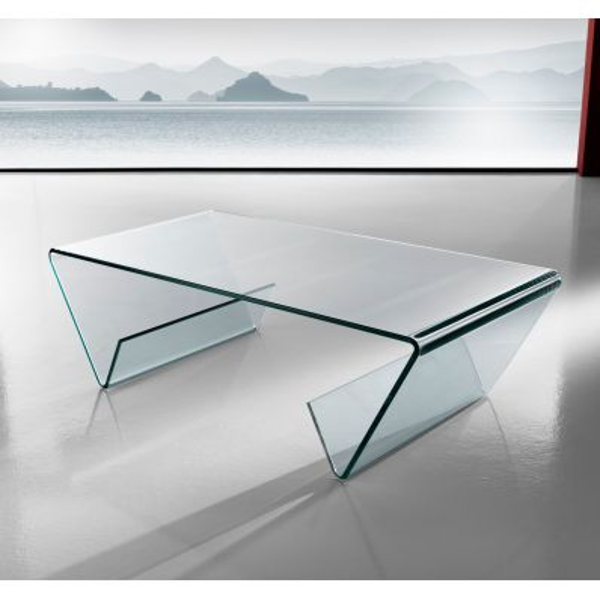 Tavolino Gabry in vetro curvato con portariviste