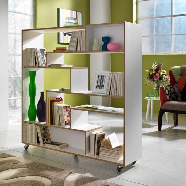 Libreria con ruote Moving in legno bianco opaco 145 x 160 cm