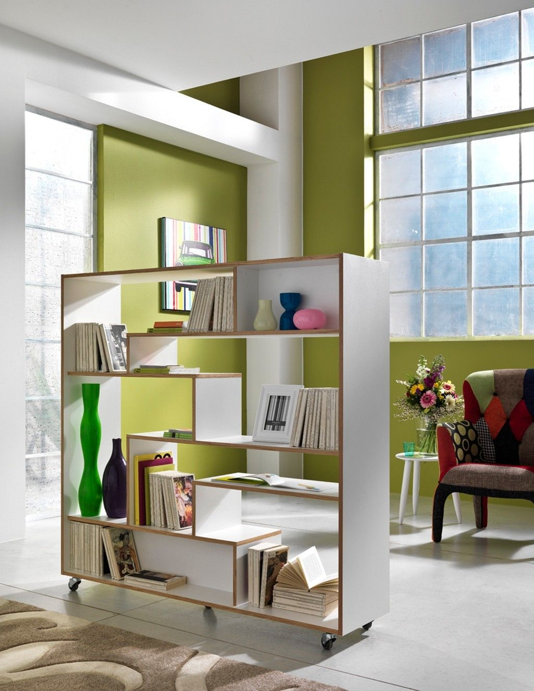 Libreria con ruote moving in legno bianco opaco 145 x 160 cm for Librerie in legno moderne