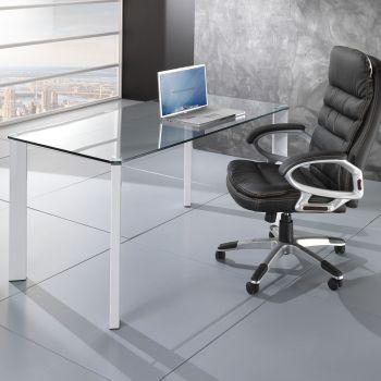 Tavolo scrivania Roxanne da ufficio piano in vetro 140 x 80 cm