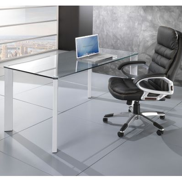 Tavolo scrivania roxanne da ufficio piano in vetro 140 x 80 cm for Scrivania vetro ufficio