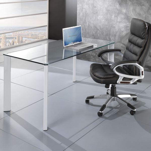 Scrivania Di Vetro.Dettagli Su Tavolo Design Scrivania Roxanne Da Ufficio Piano In Vetro Gambe Metallo 140x80cm