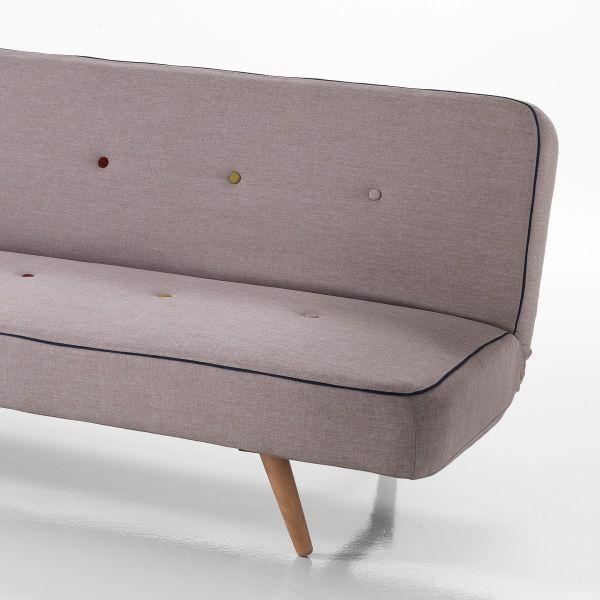 Dettagli su Divano letto moderno KUNIKO trasformabile in tessuto grigio 100  x 180 cm