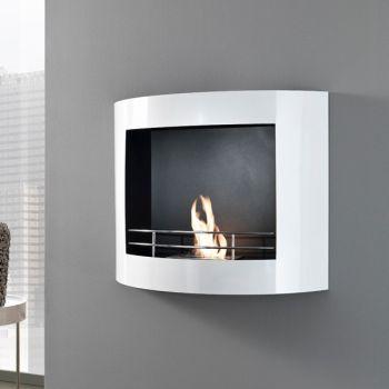 Caminetto bioetanolo Kimi da parete in metallo bianco 80 cm