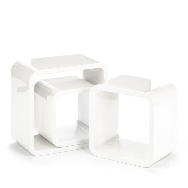 Kubetto set di 3 cubi mensola quadrati in legno bianco