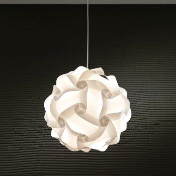 Lampada sospesa Karola in plastica bianca diametro 44 cm