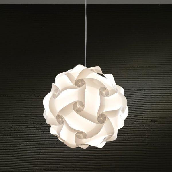 Lampada sospesa in plastica bianca diametro 44 cm Karola