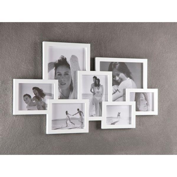 Cornice portafoto Ti Ricordi da parete per 7 foto in MDF bianco