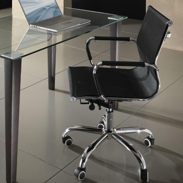 Sedia ufficio in tessuto nero con schienale basso Nicky
