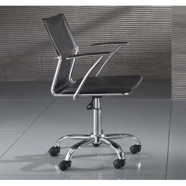 Sedia operativa per ufficio in ecopelle bianca o nera Syder