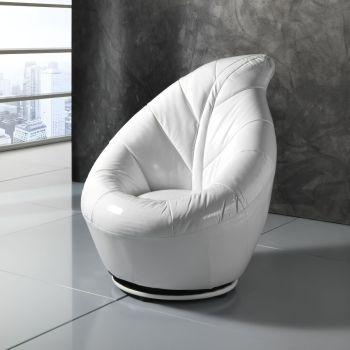 Poltrona Blatt girevole in ecopelle bianca per camera da letto