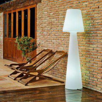 Lampada da esterno Juditta in polietilene bianco a piantana 165 cm