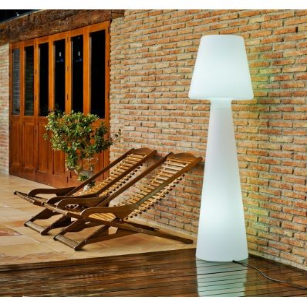 Lampada da esterno in polietilene bianco a piantana 165 cm Juditta