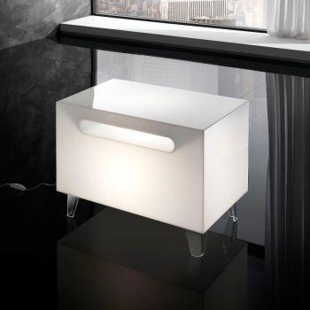 Tavolino luminoso Classy in plexiglass bianco 60 x 35 cm
