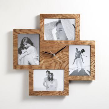 Orologio portafoto ForUs per 4 foto in legno idea regalo