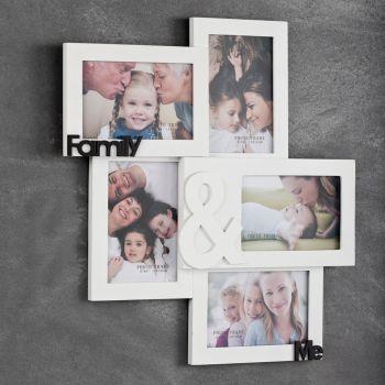 Portafoto da parete Instants per 5 foto in legno bianco