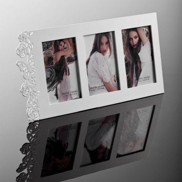 Portafoto da tavolo Eternal in legno bianco per 3 foto 10 x 15