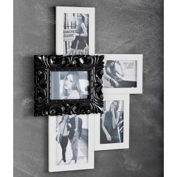 Porta foto Chic da parete per 5 foto in legno bianco