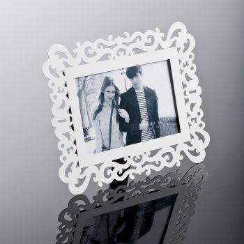Cornice portafoto InMyMind da tavolo in metallo bianco