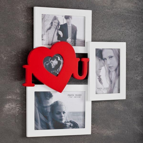 Cornice portafoto HeartBeat da parete in legno per 4 foto