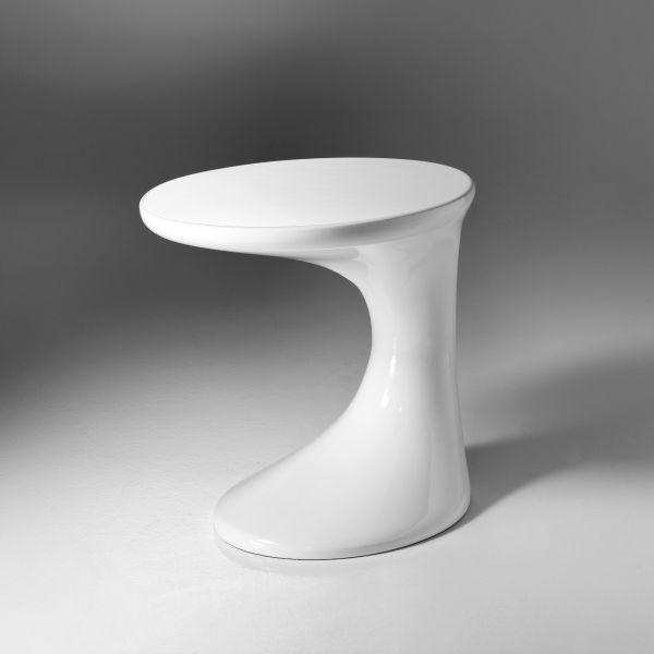 Tavolino lato divano Future in resina bianco lucido