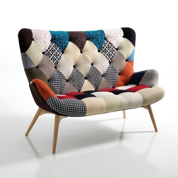 Divanetto patchwork ColorMix in tessuto multicolor a due posti