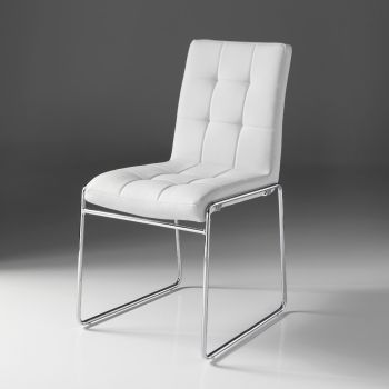 Coppia sedie Starring in metallo ed ecopelle bianca