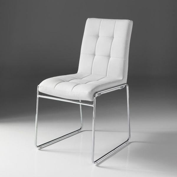 Coppia sedie in metallo ed ecopelle bianca Starring