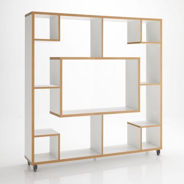 Libreria RollingStone su ruote in legno bianco 150 x 150 cm
