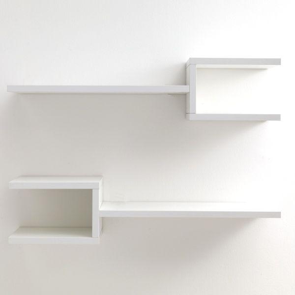 Coppia mensole Frequency B da parete in legno bianco 75 cm