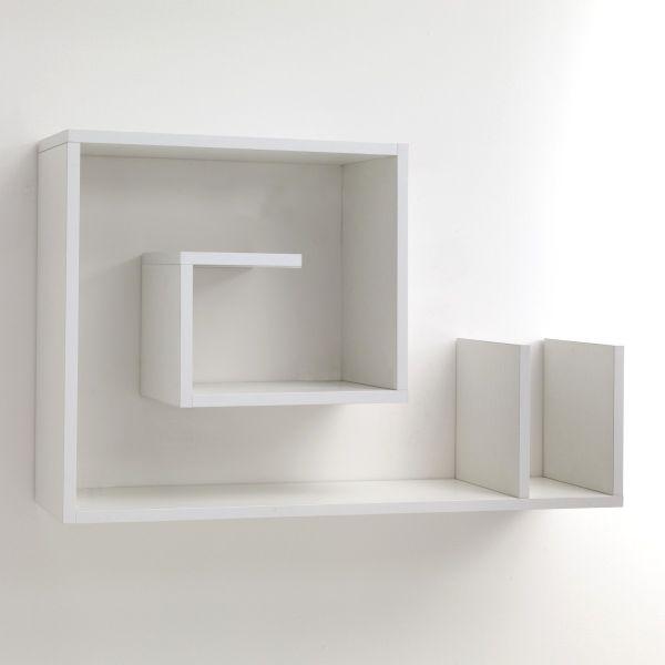 Mensola da parete in legno bianco 90 x 56 cm Karakol B