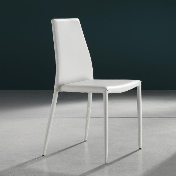 Sedia impilabile in metallo ed ecopelle design moderno Nimes