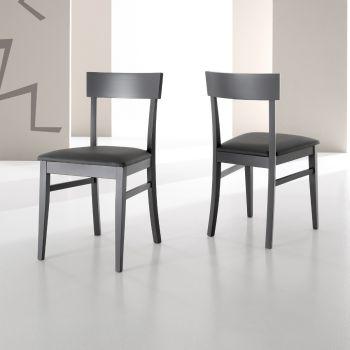 Sedia Mireia per sala pranzo in legno ed ecopelle Grigio o Antracite