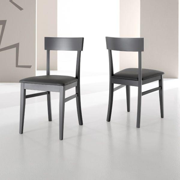 Sedia mireia per sala pranzo in legno ed ecopelle grigio o for Sedie ecopelle colorate
