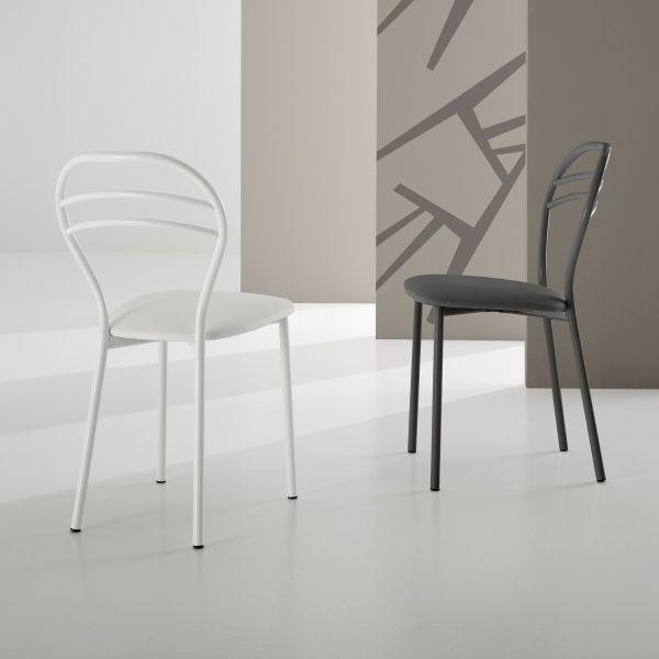 Sigrid sedia cucina design in metallo ed ecopelle Bianca o Antracite