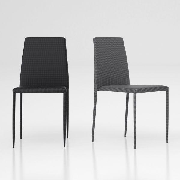 Lovisa sedia impilabile design in metallo e tessuto Grigio o Antracite