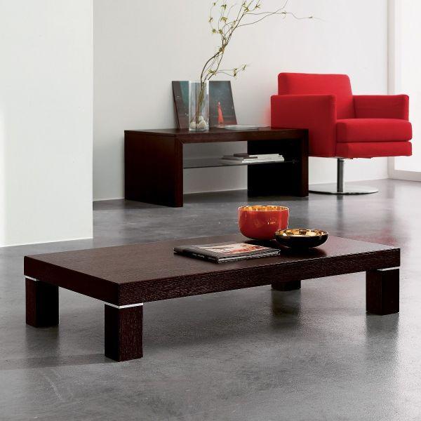Tavolo da caffe' Essien basso in legno rovere moro 110x55 cm