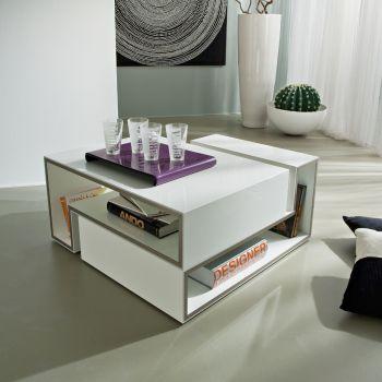 Askell tavolino da caffe' in legno laminato bianco lucido 100 x 55 cm